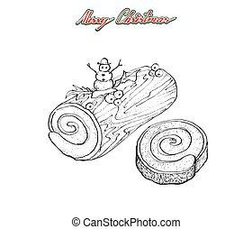 クリスマス, クリスマスのまき, 手, 伝統的である, ケーキ, 引かれる, ∥あるいは∥