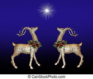 クリスマス, グリーティングカード, トナカイ