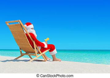 クリスマス, サンタクロース, ∥で∥, 生のジュース, 上に, sunlounger, ∥において∥, 熱帯 浜