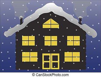 クリスマス, シャレー, シルエット, 丸太, 雪
