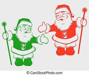 クリスマス, シルエット, サンタクロース