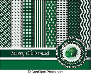 クリスマス, スクラップブック, 緑, 安っぽい飾り