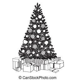 クリスマス, スケッチ, 贈り物, boxes.., 作成しなさい, 木, 手, 装飾, ベクトル, 黒, 背景, 引かれる, 白, 休日, 飾られる, カード