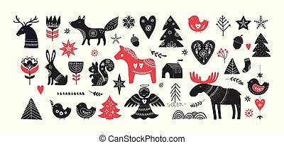 クリスマス, スタイル, 要素, 手, デザイン, 引かれる, スカンジナビア人, 旗, イラスト