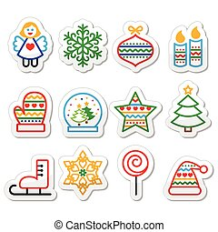 クリスマス, ストローク, -, クリスマス, アイコン