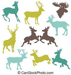 クリスマス, セット, -, トナカイ, あなたの, シルエット, ベクトル, デザイン, スクラップブック, ∥あるいは∥