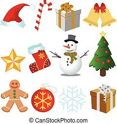 クリスマス, セット, ベクトル