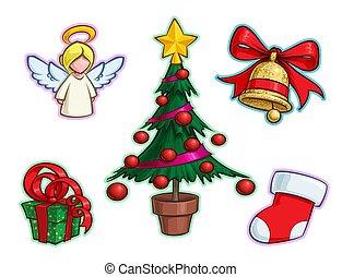 クリスマス, セット, 鐘, アイコン, ストッキング, 木, 天使, -, 贈り物