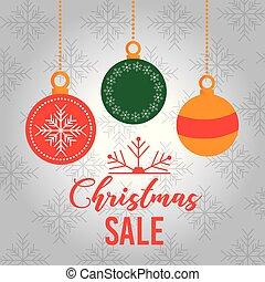 クリスマス, セール, カード, 装飾, ボール, 掛かること