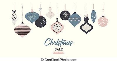 クリスマス, セール, 旗, テンプレート, 活版印刷, ∥で∥, クリスマス, ボール, 販売 のため, フライヤ, ポスター, 網, 旗, そして, 挨拶, card., ベクトル, イラスト