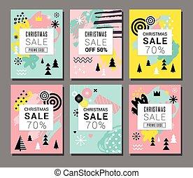 クリスマス, セール, 背景, モビール, theme., 現代, デザイン, ∥ために∥, ポスター, カード