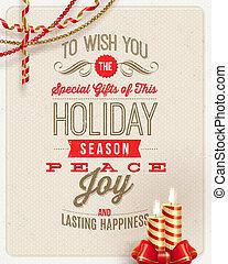 クリスマス, タイプ, デザイン, ホリデー, 装飾, そして, 蝋燭, 上に, a, ボール紙, 背景, -,...