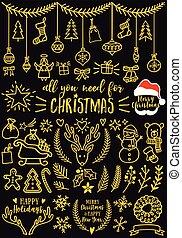 クリスマス, デザイン, 金, 要素, ベクトル