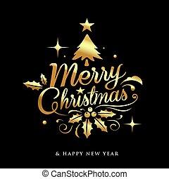 クリスマス, デザイン, 陽気, 黒, 金, レタリング, 背景
