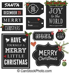 クリスマス, デザイン, 黒板, 要素