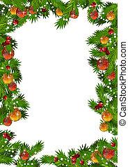 クリスマス, フレーム, ∥で∥, モミ, ブランチ, そして, 金, そして, 赤, ボール