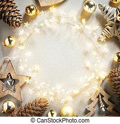 クリスマス, フレーム, background;, 旗, 白, 背景, 花輪, 木, 休日の 装飾, 抽象的, ライト