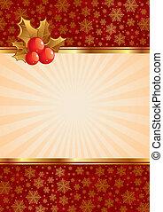 クリスマス, ベクトル, 背景, ∥で∥, ヒイラギの果実