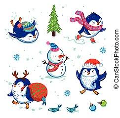 クリスマス, ペンギン, セット