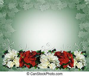 クリスマス, ボーダー, ポインセチア