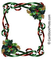 クリスマス, ボーダー, リボン, そして, 西洋ヒイラギ