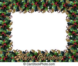 クリスマス, ボーダー, 西洋ヒイラギ, フレーム