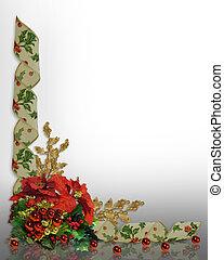 クリスマス, ボーダー, 西洋ヒイラギ, リボン, 花