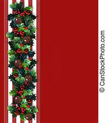 クリスマス, ボーダー, 西洋ヒイラギ, 花輪