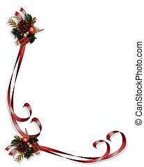 クリスマス, ボーダー, 赤, リボン