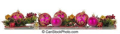 クリスマス, ボール, ビーズ, 松, ブランチ, そして, コーン, 贈り物, 隔離された, 白