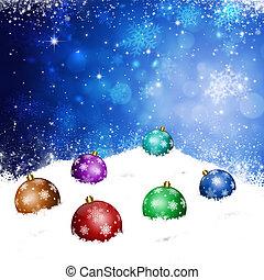 クリスマス, ボール, 上に, 雪, 丘