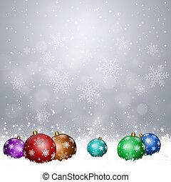 クリスマス, ボール, 上に, 雪