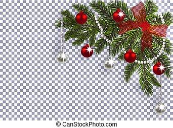 クリスマス, ボール, drawing., 木, 弓, 銀, 新しい, shadow., バックグラウンド。, year., 緑, イラスト, ブランチ, おもちゃ, クリスマス。, コーナー, 透明, 赤