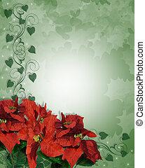クリスマス, ポインセチア, ボーダー