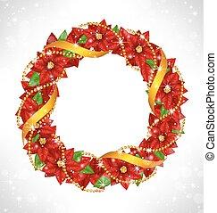 クリスマス, ポインセチア, grayscale, 花輪