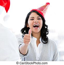 クリスマス, ポジティブ, 祝いなさい, 「オーケー」, 女性実業家