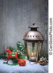 クリスマス, ランタン, 中に, ∥, 雪
