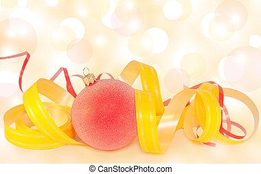 クリスマス, リボン, 安っぽい飾り, 背景, ぼんやりさせられた