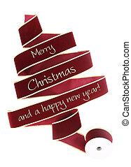 クリスマス, リボン, 木