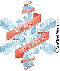 クリスマス, リボン, 雪片