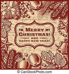 クリスマス, レトロ, カード, ブラウン