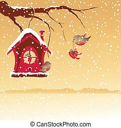 クリスマス, ロビン, 挨拶, 鳥