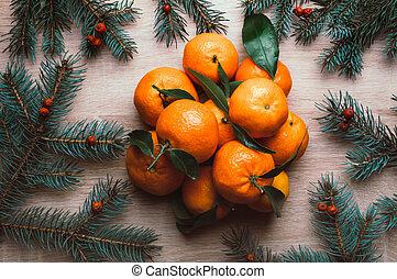 クリスマス, 上, マンダリン, berries., 位置, モミ, 光景, 背景, ブランチ, frame., ナナカマド, 平ら, 休日, 冬