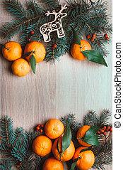 クリスマス, 上, berries., 位置, モミ, 光景, 背景, ブランチ, タンジェリン, ナナカマド, frame., 平ら, 休日, 冬