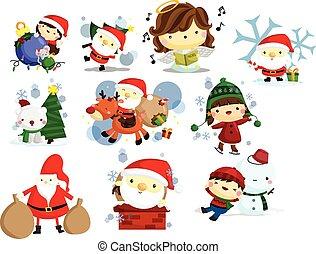 クリスマス, 休日, そして, 冬, セット