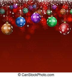 クリスマス, 休日, ボール, 赤い背景