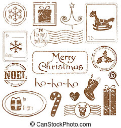 クリスマス, 偉人, セット, グランジ, -, コレクション, デザイン, スタンプ, スクラップブック, 招待, あなたの