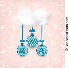 クリスマス, 優雅さ, カード, ∥で∥, ボール, そして, 雲