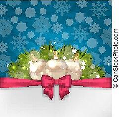 クリスマス, 優雅さ, カード, ∥で∥, モミ, ブランチ, そして, ガラス, ボール