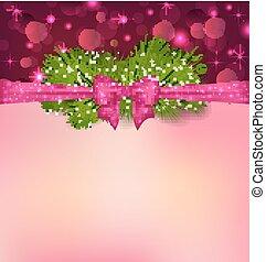 クリスマス, 優雅さ, 背景, ∥で∥, モミ, ブランチ, そして, 弓, リボン